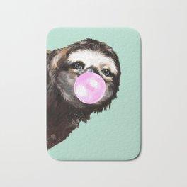 Bubble Gum Sneaky Sloth in Green Bath Mat