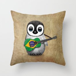 Baby Penguin Playing Brazilian Flag Acoustic Guitar Throw Pillow