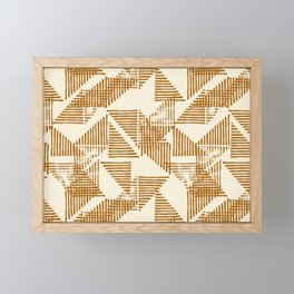 Stripe Triangle Block Print Geometric Pattern in Orange Framed Mini Art Print