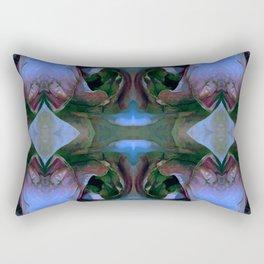 Floribunda Rose - Cool Blue Green Rectangular Pillow
