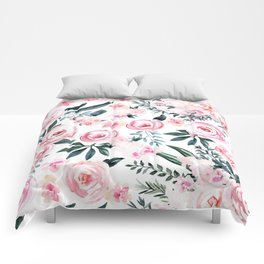 Floral Rose Watercolor Flower Pattern Comforters