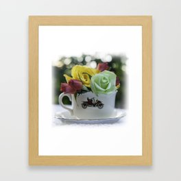 Tea Cup - Tea with Roses Framed Art Print