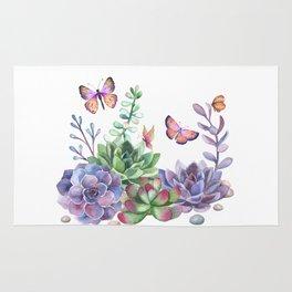 A Splendid Secret Succulent Garden With Butterfly Visitors Rug