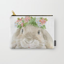 Lop Rabbit Floral Wreath Watercolor Painting Carry-All Pouch