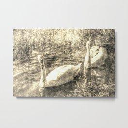 Swan Lake Vintage Metal Print