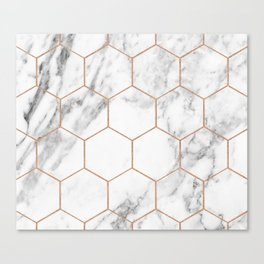 Rose gold marble hexagons honeycomb pattern Canvas Print