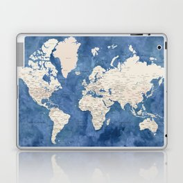 Light brown and blue watercolor detailed world map Laptop & iPad Skin