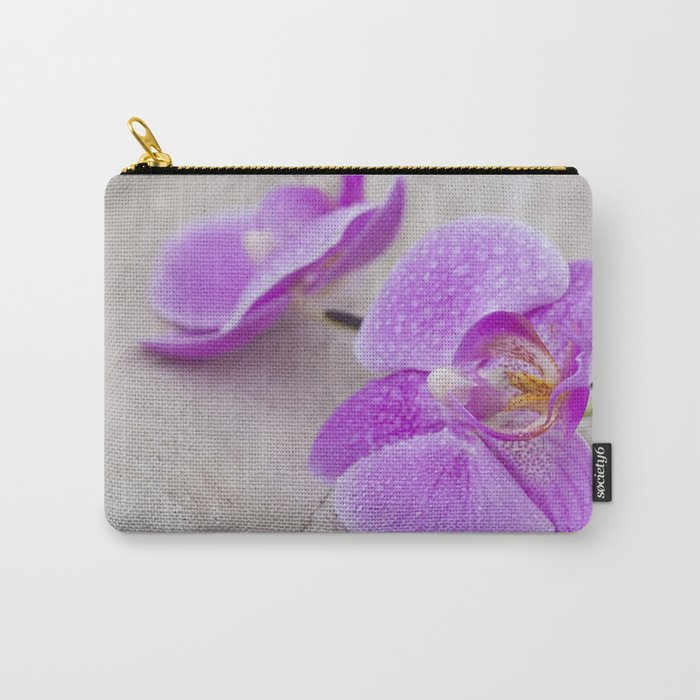 pink orchid flower close up water drops Carry-All Pouch