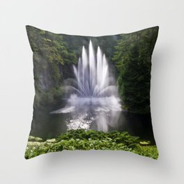 Butchart Garden Fountain Throw Pillow