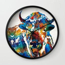 Colorful Buffalo Art - Sacred - By Sharon Cummings Wall Clock