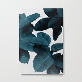Indigo Plant Leaves Metal Print