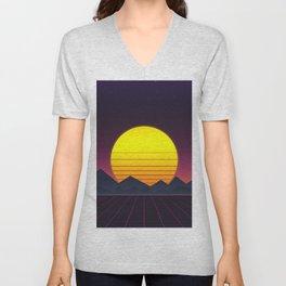Vaporwave\\Mountain Unisex V-Neck
