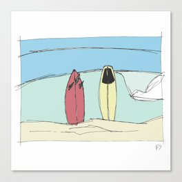Boards on the beach Canvas Print