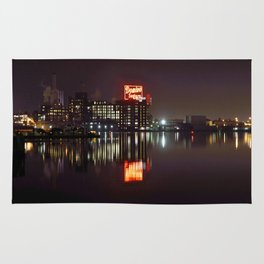 Sugar Glow feature the neon sign of the Domino Sugar factory on Baltimore Maryland's Inner Harbor Rug