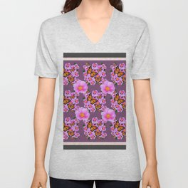 PINK ROSES MONARCH BUTTERFLIES  PUCE COLOR ART Unisex V-Neck
