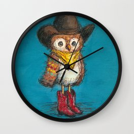 Cowboy Owl Wall Clock