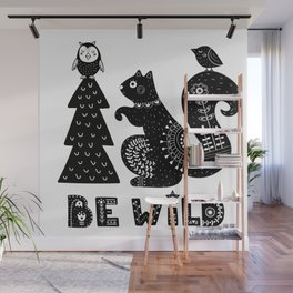 Be Wild Cute Owl And Squirrel In Scandinavian Style Wall Mural