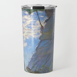 1875-Claude Monet-Woman with a Parasol - Madame Monet and Her Son-81 x 100 Travel Mug