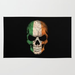 Dark Skull with Flag of Ireland Rug