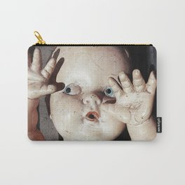 """I see you"" Creepy Scared Doll with Hands Up Carry-All Pouch"