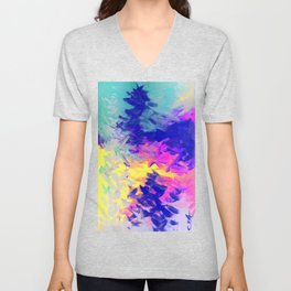 Neon Mimosa Inspired Painting Unisex V-Neck