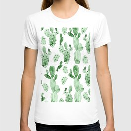Green Cactus Field - Large T-shirt