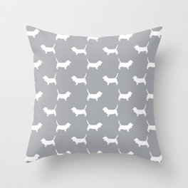 Basset Hound silhouette grey and white dog art dog breed pattern simple minimal Throw Pillow