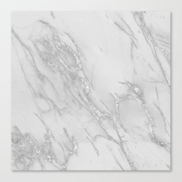 Marble Love Silver Metallic Canvas Print