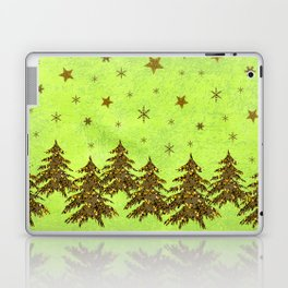Sparkly Christmas tree, stars on abstract green paper Laptop & iPad Skin