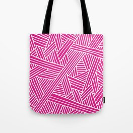 Abstract pink & white Lines and Triangles Pattern - Mix and Match with Simplicity of Life Tote Bag