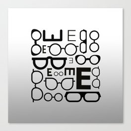 Eye Chart eyeglasses gray glasses Canvas Print