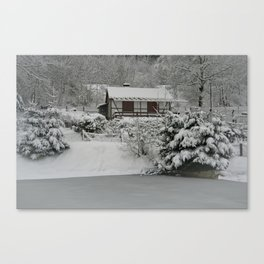 Cabin In The Snow At The Inselsberg Canvas Print