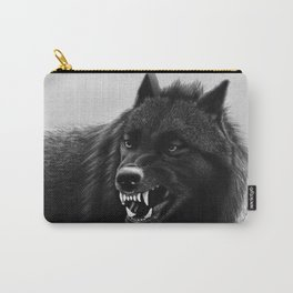 Growling Black Wolf Carry-All Pouch