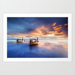 Ao nang beach at sunrise Art Print