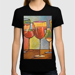 Whites and Reds ... abstract wine glass art, kitchen bar prints T-shirt