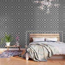 Gingham Plaid Black & White Wallpaper
