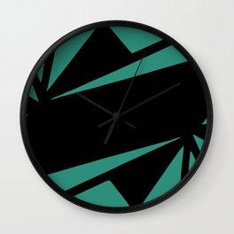 Abstract art deco green and black Wall Clock