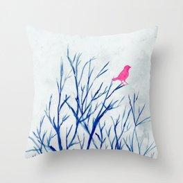 Perching bird on winter tree Throw Pillow