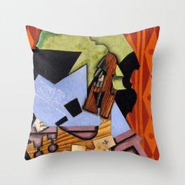 Violin and Playing Cards on a Table Throw Pillow