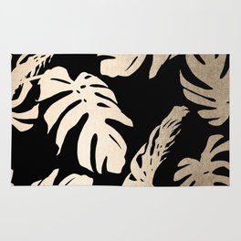 Simply Palm Leaves in White Gold Sands on Midnight Black Rug