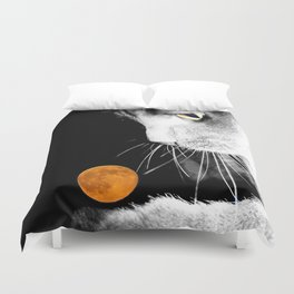 Silver Cat and Moon Duvet Cover
