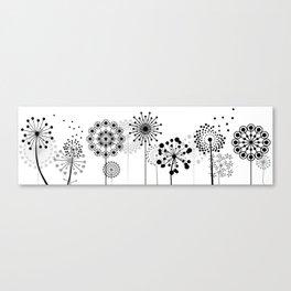 Monochrome Dandelions Canvas Print