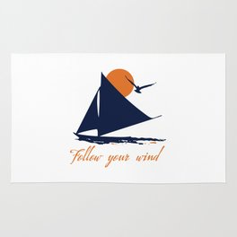 Follow your winds (sail boat) Rug