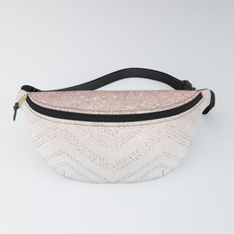 Modern faux rose gold glitter ombre modern chevron stitches pattern Fanny Pack