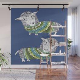 Sheep wearing Fair Isle knitted sweater Wall Mural