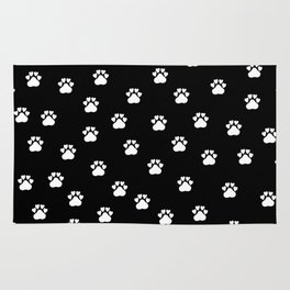 Cat's hand drawn paws in black and white Rug