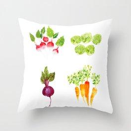 Garden Party - Mixed Veggies Throw Pillow