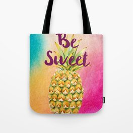 Watercolor Pineapple - Be Sweet Pink Gold Pineapple Tote Bag