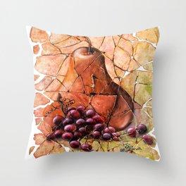 Pear & Grapes Fresco Throw Pillow