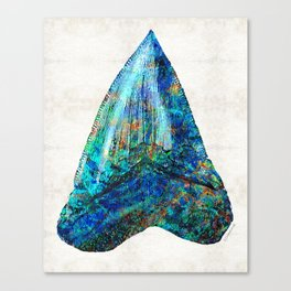 Blue Shark Tooth Art by Sharon Cummings Canvas Print